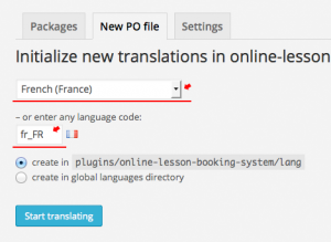 Select new language